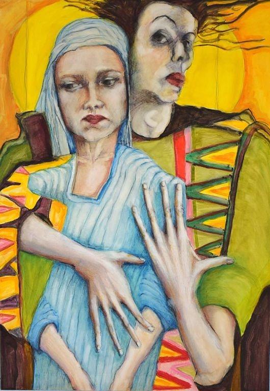 Man met vrouw in blauw